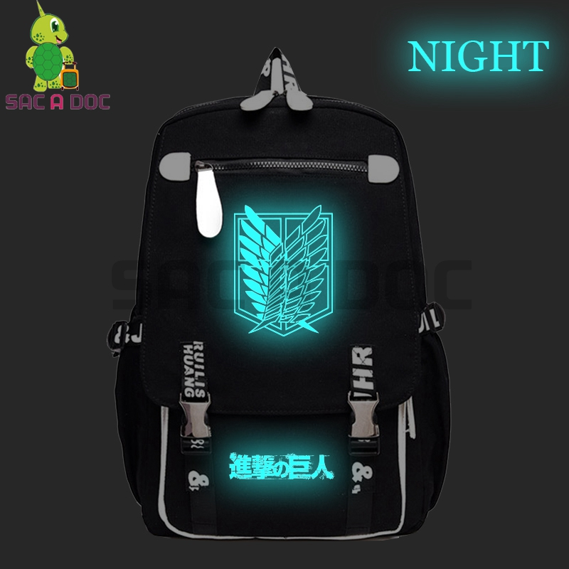 Anime Attack on Titan Luminous Backpack Eren Levi School Bags for Teenage Girls Boys Laptop Backpack Large Capacity Travel BagsAnime Attack on Titan Luminous Backpack Eren Levi School Bags for Teenage Girls Boys Laptop Backpack Large Capacity Travel Bags