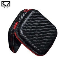 KZ Headphones Storage Box Square In Ear Earphone Bags USB Flash Drive Portable Case for Headphones Accessories Black with Red
