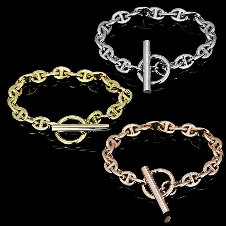 High Quality Titanium Steel Hot Bracelet Word Buckle Bracelet Men and Women Coarse Bracelet OT Buckle H Bracelet For Women