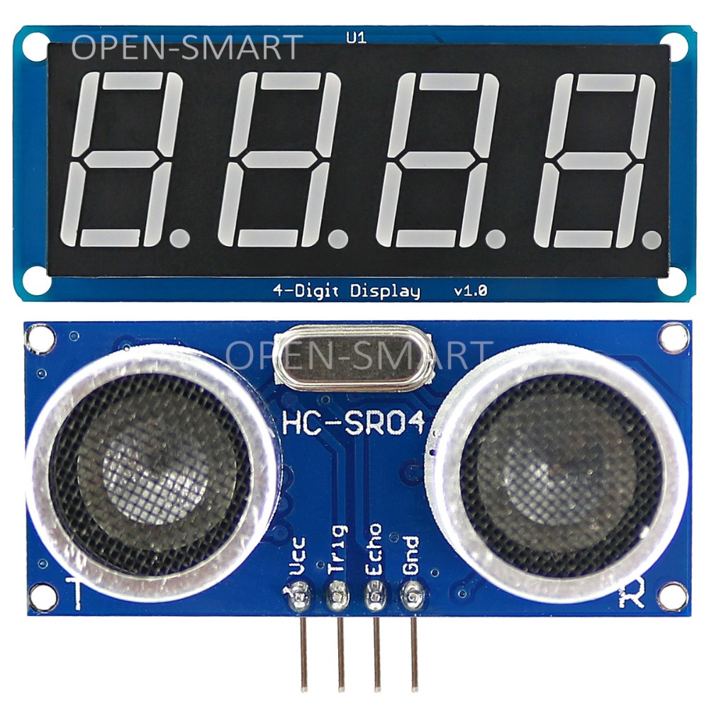 HC-SR04 Ultrasonic Sensor Kit Distance Measuring Module + 4-Digit Display Module For Arduino UNO R3