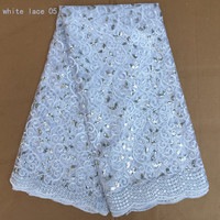Different Pattern Design African Lace Fabric White Color Embroidery High Quality French Lace With Sequins For