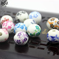 JINSE New Fashion 50pcs Mix Ceramic Beads Ceramic Beads Handmade Materials Multi-color Flower DIY Small  Beads at random  CSB029