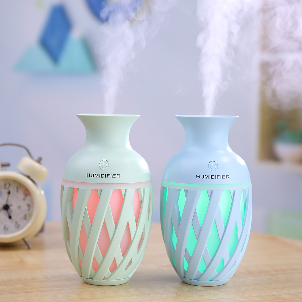 Newest Cute Vase USB Air Humidifier for Home Car Ultrasonic Mini 320ML Aroma Diffuser Air Purifier with LED Lights Humidifier