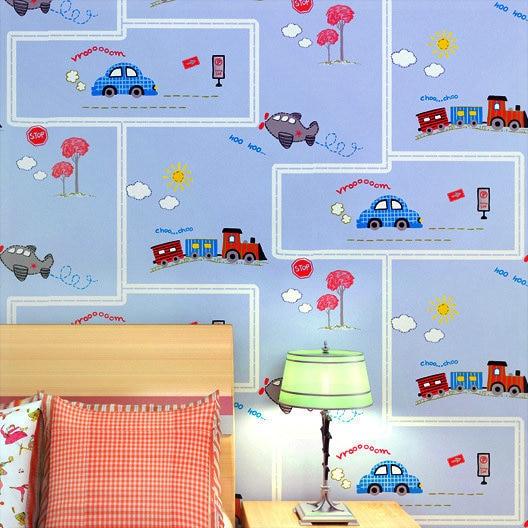 Cartoon Train Car Wallpaper Children Bedroom Wall Paper Boys Room