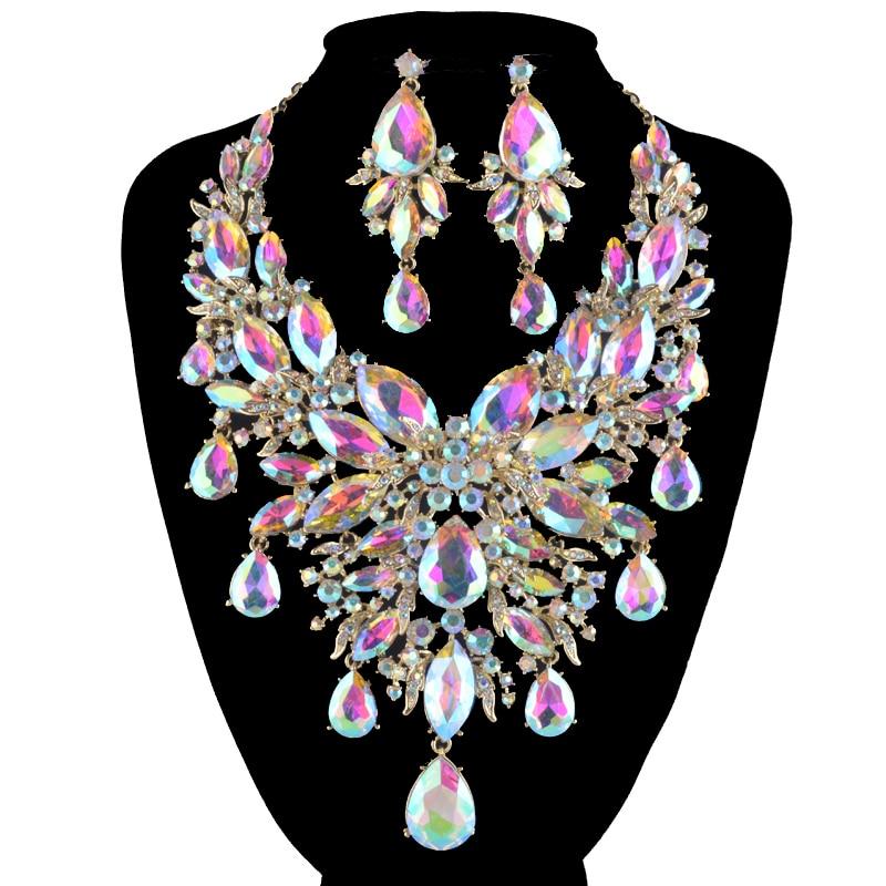 Aliexpress Com Buy New Fashion Necklace Earrings Bridal: Aliexpress.com : Buy 9 Color Women Rhinestone Pageant