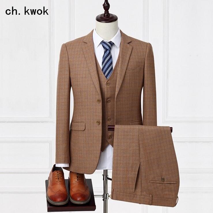 CH. KWOK modèles personnalisés en gros discount hommes haut de gamme robe de soirée de mariage personnalisé entreprise carrière costume trois pièces costumes