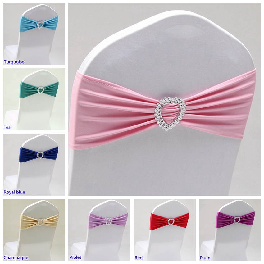 10 Spandex  Stretch Wedding Chair Cover Sashes Bow Band Party Banquet Decor