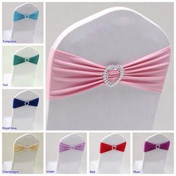 20 Colours Spandex Sash Wedding Lycra Chair Band Stretch For Chair Covers Decoration Party Dinner Banquet