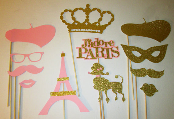 Glitter Paris Photo Booth Props Wedding Bridal Shower Bachelorette Hens Night Party Masks