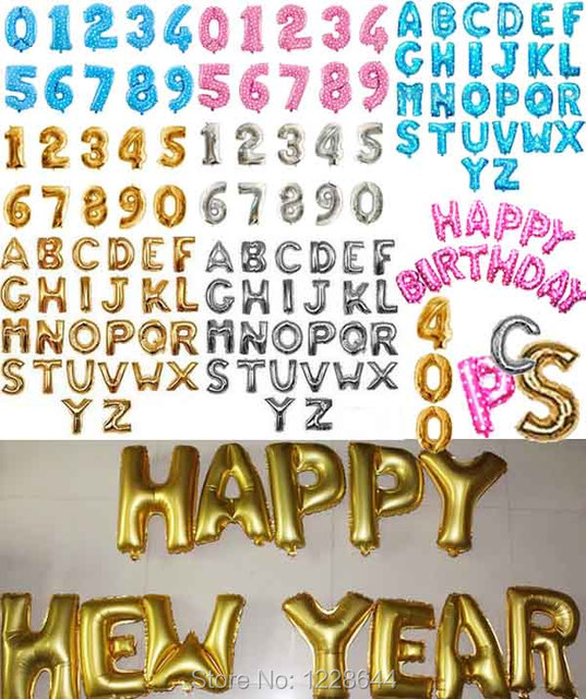 Alphabet Aluminum Foil Balloons Party Supplies Happy Birthday Letter Number Balloon 16 Favors 400 Pieces Lot Wholesale