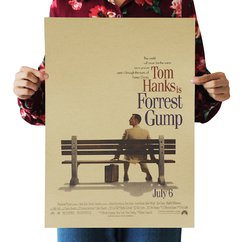 Forrest Gump Hollywood Inspirational Movies Kraft Paper Posters Frameless Mural Decoration Vintage Film Poster Wall Sticker