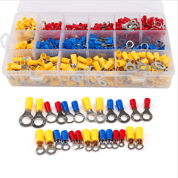Hot sale 650Pcs/lot Assorted Insulated Ring Crimp Terminal Electrical Wire Connector Set Red Blue Yellow 570pcs lot terminales wire connector awg 570pcs lot assorted 9 value bootlace ferrule electrical crimp terminal
