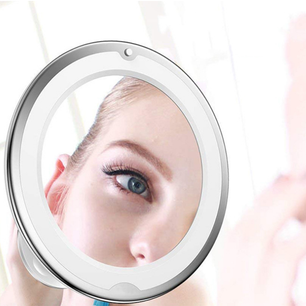 7X Magnifying Lighted Vanity Makeup Mirror With Natural White LED, 360 Degree Swivel Rotation And Locking Suction