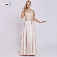 Dressv Champagne Long Evening Dress Cheap Scoop Short Sleeves A Line Zipper Up Wedding Party Formal