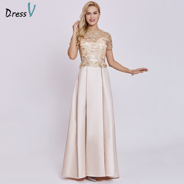 90625b2706324 Dressv champagne long evening dress cheap scoop short sleeves a line zipper  up wedding party formal dress evening dresses