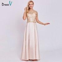 Dressv champagne longo vestido de noite barato colher mangas curtas uma linha zipper up vestidos de festa de casamento vestido formal vestido de noite