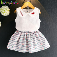 Babzapleume Summer Style Baby Girls Boutique Outfits Kids Suit Princess T Shirt Cute Skirts Korean Children