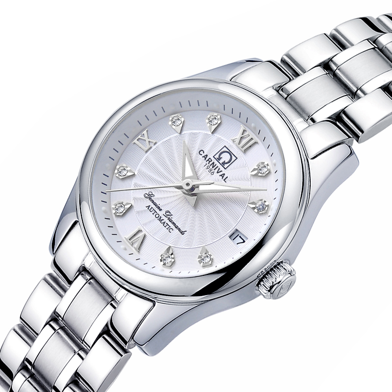 Carnival Women Watches Luxury Brand ladies Automatic Mechanical Watch Women Sapphire Waterproof relogio feminino C-8830-4 2017 carnival luxury brand mechanical watch women leather bracelet waterproof sapphire mirror stainless steel automatic watches