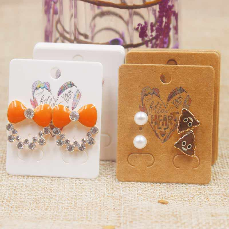 50 PC/Lot5x4cm Baru Bunga Seri Stud Anting-Anting Paket Kartu Dreamcatcher Pola Anting-Anting: Kartu Hati Anting-Anting kartu