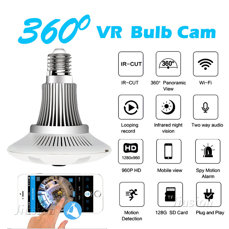 360 Degree Wifi Mini Bulb Panoramic Camera Fisheye HD 960P Home Surveillance Dome Lamp Micro IP Camcorder for iPhone IOS Android