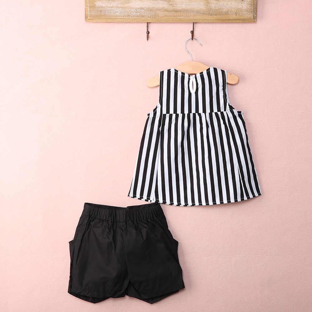 2016 新夏カジュアルトップス + ショート服セットスーツ女の子服ファッション着用ストライプ布