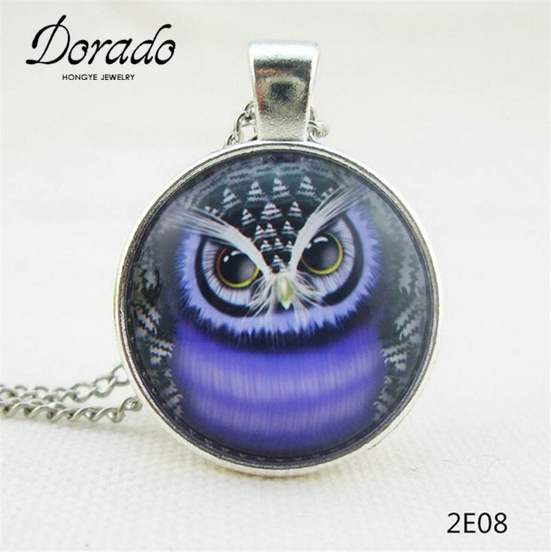 4b2262430f5 Moda vintage precioso colorido lindo Owl collar y colgantes de cristal  Cabochon collar de bronce Venta barata