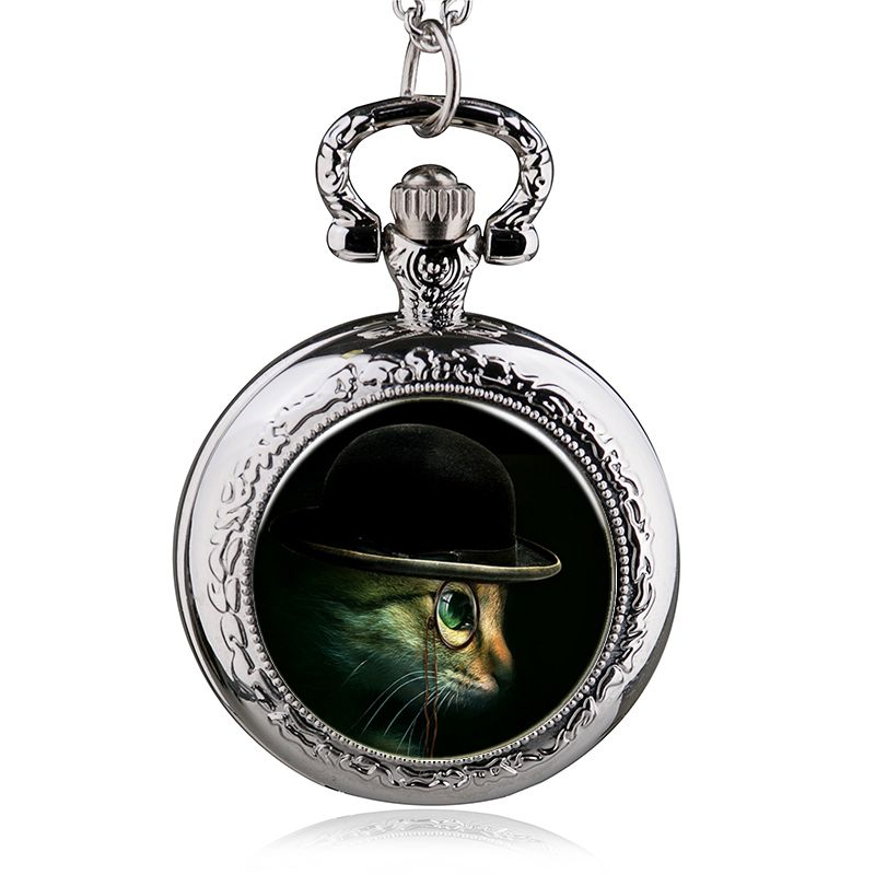 Fashion Lovely Cute Blue Cat Kitty Silver Quartz Pocket Watch Analog Pendant Necklace Men Women Watches Girl Gift