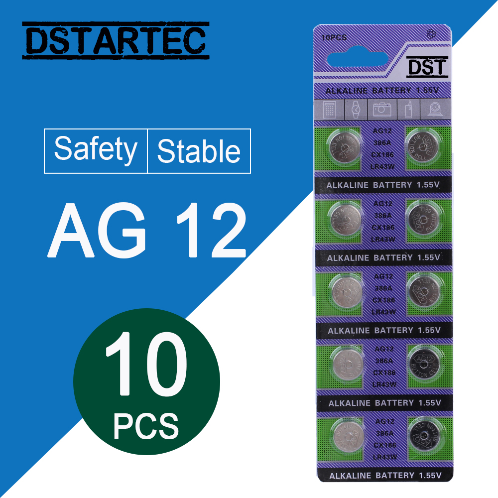 10pcs/card 30mAh 1.55V AG12 LR43 SR43 260 386 LR1142 V12GA AG 12 Button Batteries For Watch Toys Remote Etc; Cell Coin Battery