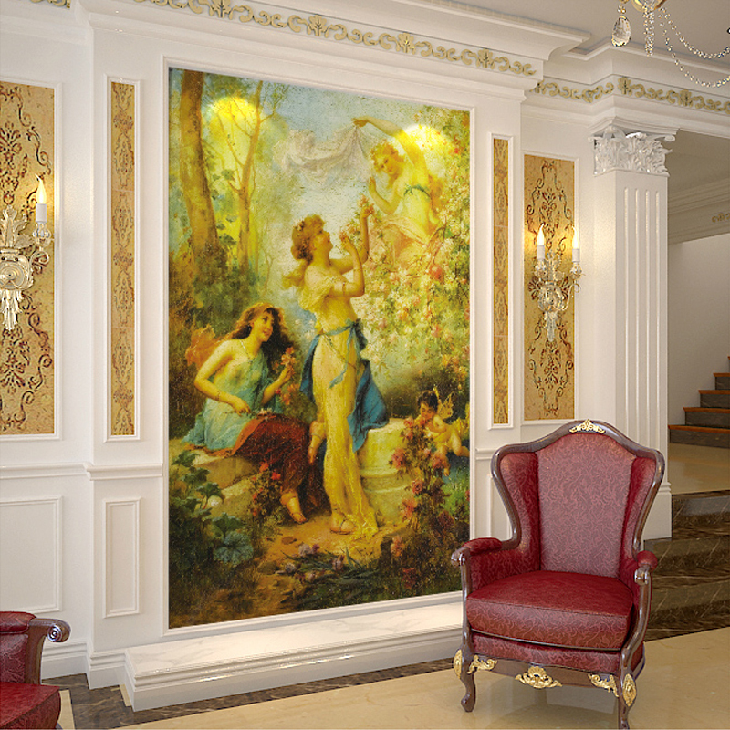 European Style Classic Figure Oil Painting Photo Mural For Wall Livng Room Entrance Corridor Decor Custom 3D Embossed Wallpaper free shipping 3d stereo entrance hallway custom wallpaper vertical version european oil painting wallpaper mural