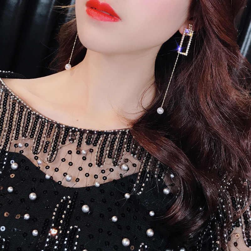 2019 pendientes de cristal completo de lujo pendientes rectangulares redondos exagerados pendientes de fiesta de boda para mujeres pendientes de perlas de borla