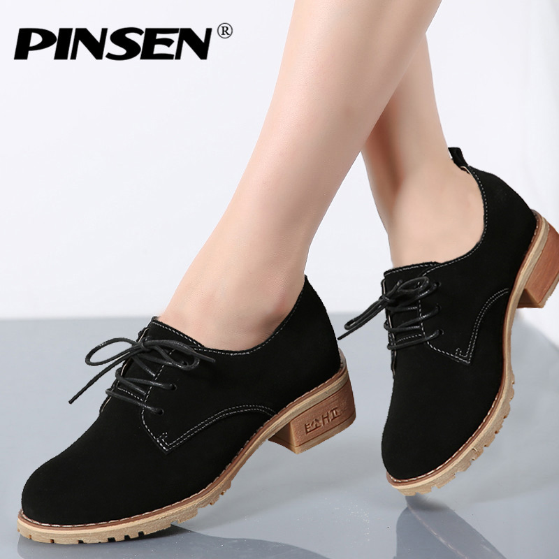 PINSEN 2019 Autumn Women Oxford Shoes   Leather     Suede   Lace Up Round Toe Middle Heel Ladies Boat Shoes Woman Casual Flat Moccasins