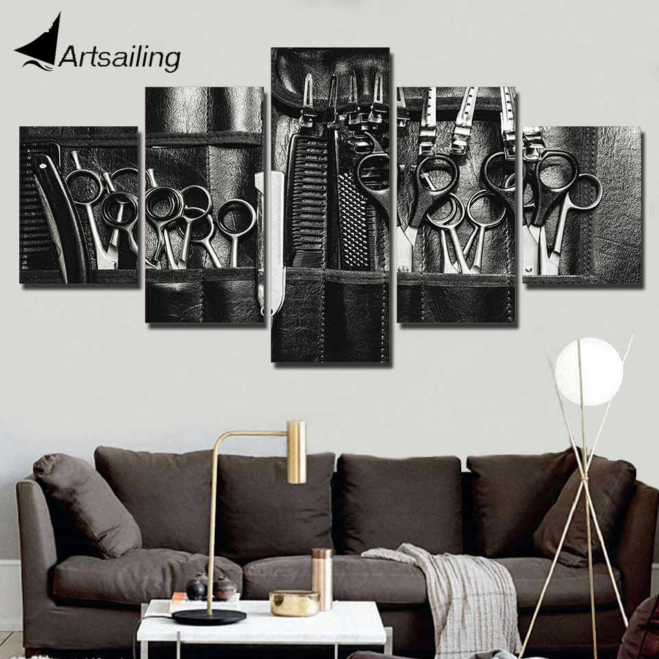 canvas painting Hairdressing tool picture Black and white background salon decor 5 panel wall art for living room print Poster