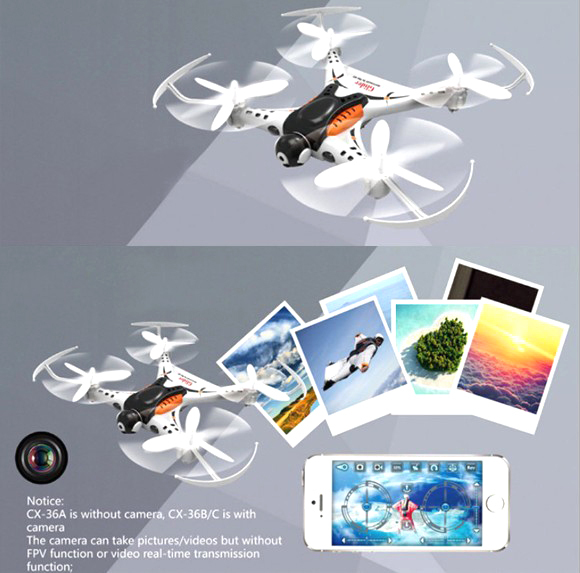 Cx-36 cheerson 4ch 2.4g 6-axis quadcopter drone puede agregar la cámara 0.3mp cx-36b cx-36c rollo de 2mp cámara wifi helicóptero toys