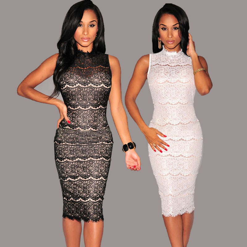Aliexpress.com : Buy Sexy Women Black White bodycon dress lace ...
