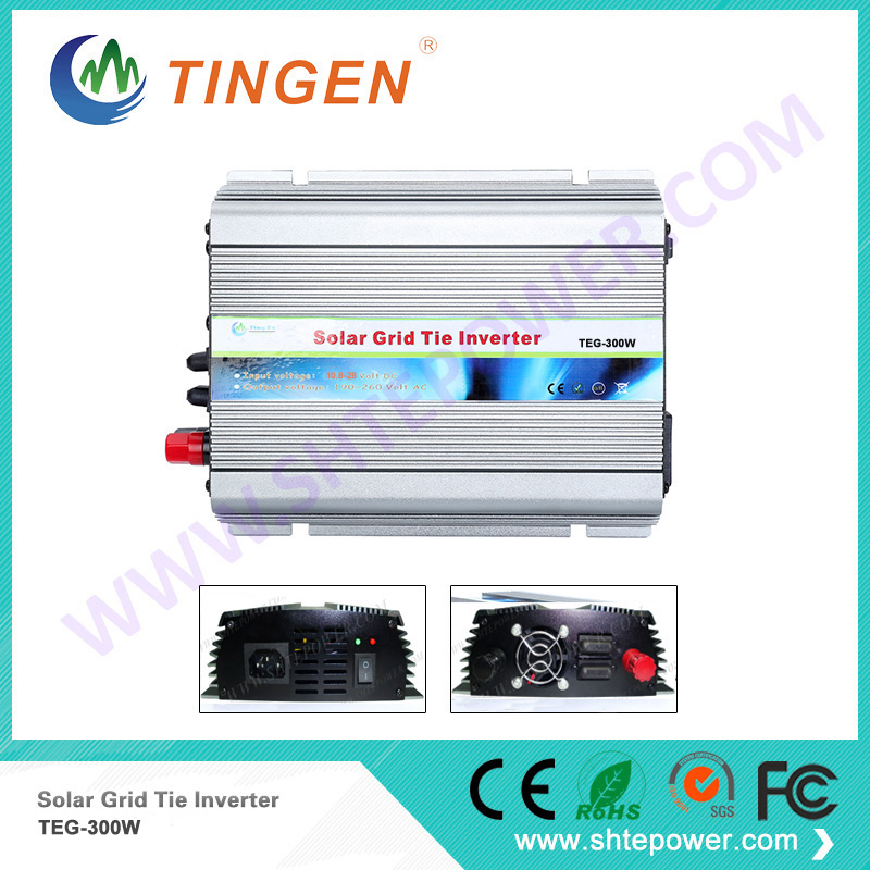 Solar power inverter grid tie system 300W DC 12V to AC 110V output TEG-300W DC 10.8-28V input 110V/220V output options 1pcs lot sh b17 50w 220v to 110v 110v to 220v