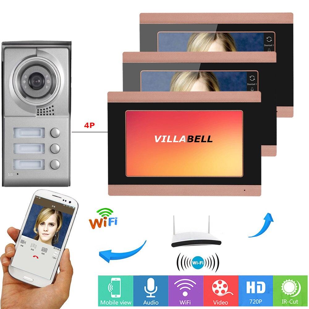 SmartYIBA 3 Apartments Video Doorbell Intercom Wireless Wifi Smartphone App Remote Control Video Doorphone for 3 Homes/Families