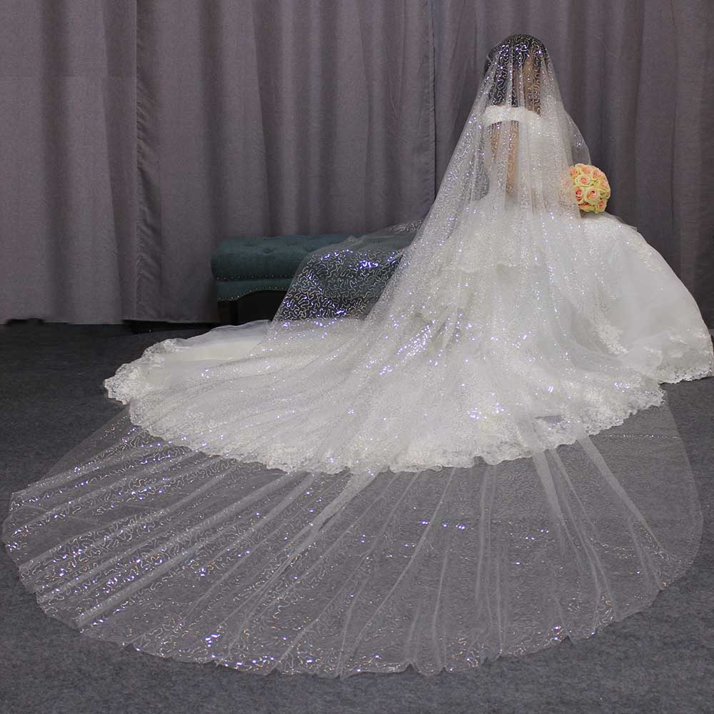 Sparkling Sequined 4M Long Wedding Veil 4 Meters One Layer Silver Sequins Ivory Tulle Bridal Veil WITHOUT Comb 2019