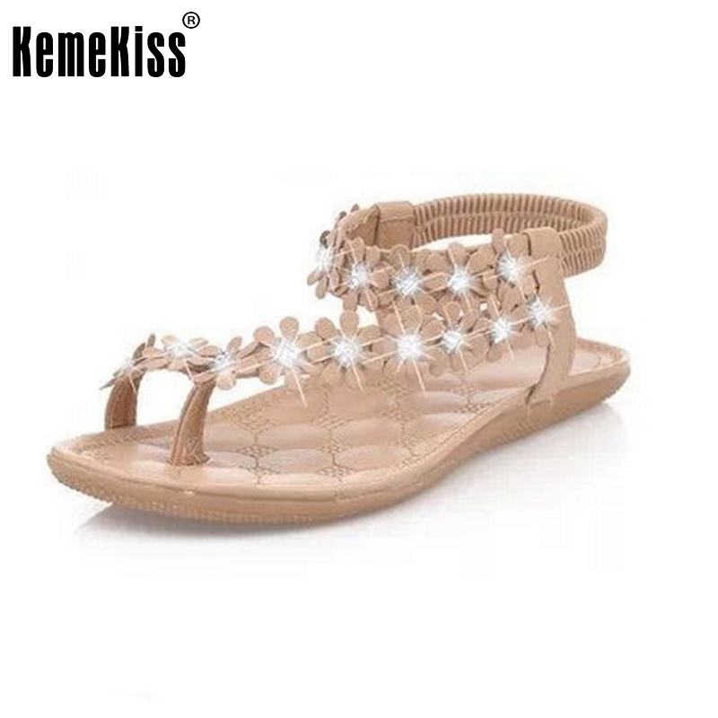 Women Shoes Woman Sandals Bohemia Sandal Shoes Pinch The  Clip Toe Flowers Flat Han Edition Lady Beach Shoes Size35-39 PA00235 ulrica 2017 summer new arrival bohemia sweet beaded sandals clip toe sandals beach shoes footwear shoes for women zapatos mujer