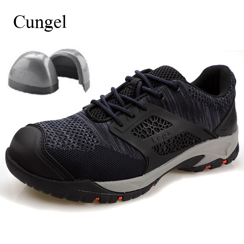 Cungel Men Steel Toe Safety Shoes Breathable Work Shoes Outdoor Sneakers Hiking Shoes Tooling Non Slip Anti Smashing Shoes