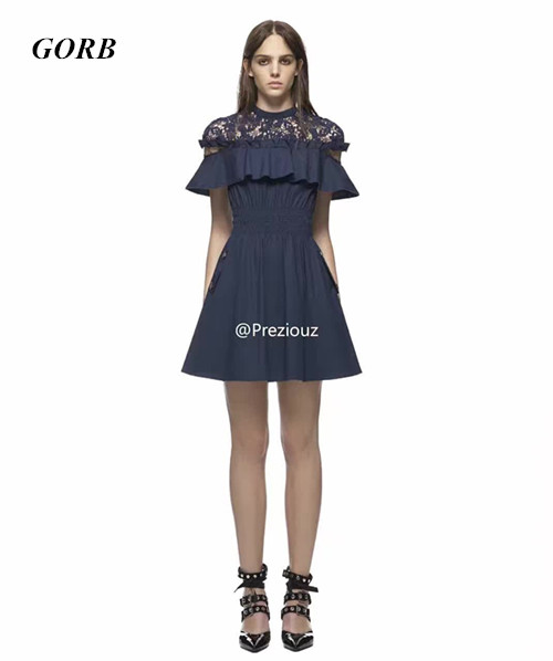 GORB 2017 New Hot Sales Self Portrait Style Brand Womens Fashion Short Sleeve Stitching Dresses Lace Mini Dress In Stock G2856