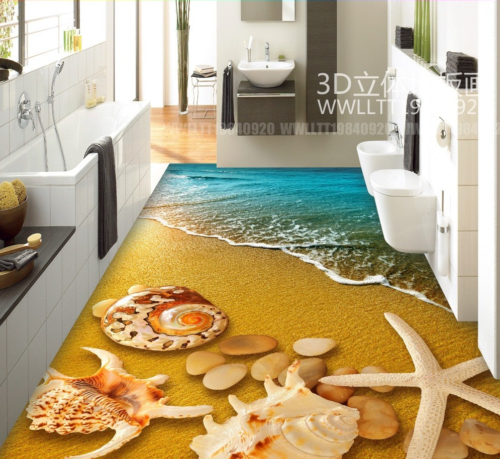 Free Shipping 3d Beach Shell Floor Painting Kitchen Living Room Mallory Ballast Resistor Wiring Diagrams Restaurant Hallway Decoration Wear Pvc Wallpaper Mural