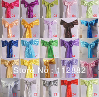 Free Shipping 100pcs Lot Stain Chair Bow Banquet Chair Sashes Wedding Chair Covers Decoration Wholesale