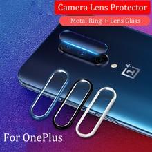 Cam OnePlus 8 7 Pro 6T 6 7T ekran koruyucu temperli cam için bir artı 6T 7 kamera Lens koruyucu cam ve halka kapak