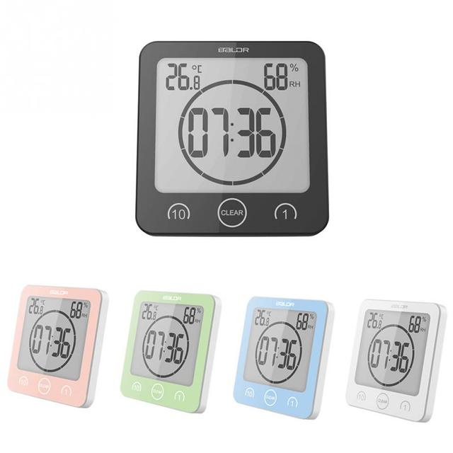 Waterproof Digital Shower Clock Suction Countdown Alarm Timer Thermometer