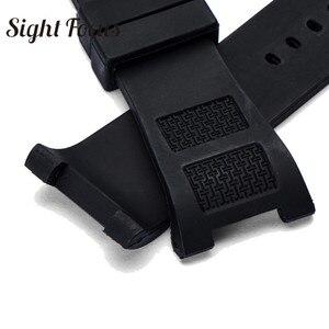 Image 4 - Çentik son silikon kauçuk saat bandı IWC Ingenieur kayış erkekler için 30mm siyah su geçirmez saat kayışı bilezik Pin toka kemer