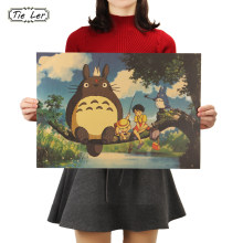 TIE LER Retro Totoro Kraft Paper Posters Japanese Anime Totoro Wall Sticker Kids Room Decoration Vintage Poster(China)