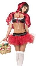Caperucita roja de halloween mujeres cosplay sexy red hoodwinked dress ds trajes capa para las mujeres adultos traje de lujo