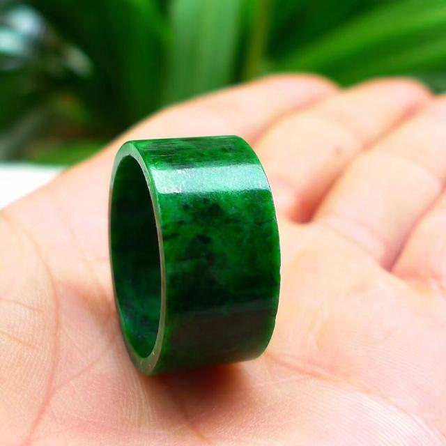 Бирманская старая яма изумрудная Зеленая кнопка относится к зеленому цветку голубое кольцо большой палец нефритовое кольцо 3001 - Цвет камня: Белый