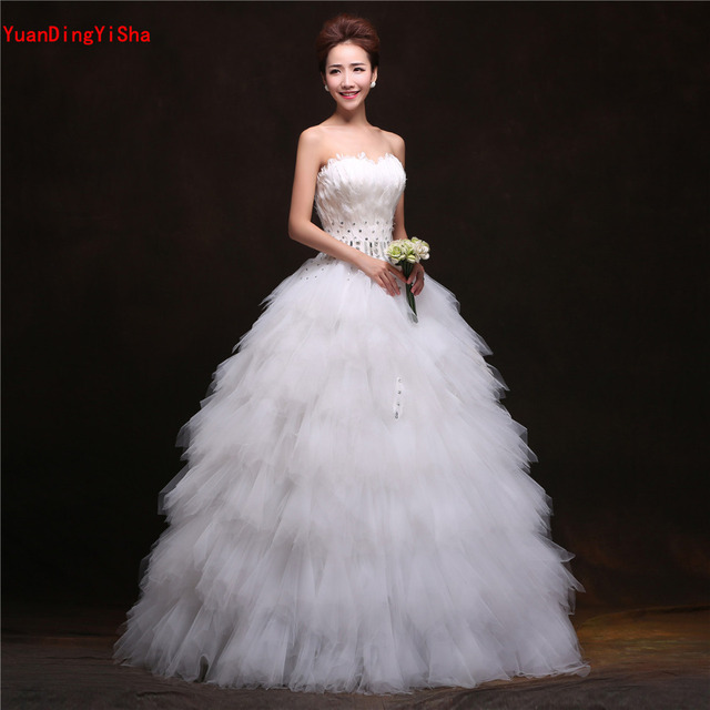 Real Picture Tulle A line Wedding Dress 2017 Sweetheart Feathers ...