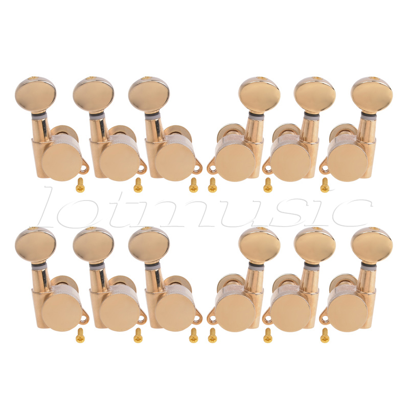 Electric Acoustic Guitar String Tuning Pegs Keys Tuners Machine Heads 3x3 Gold 2 Set 6 pieces sliver acoustic guitar machine heads knobs guitar string tuning peg tuner 3 left and 3 right